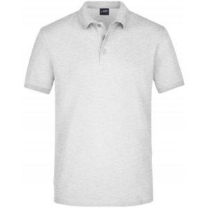Pánské triko s límečkem elastic JAMES NICHOLSON JN710 GREY HEATHER
