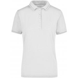 Dámské triko s límečkem premium JAMES NICHOLSON JN568 WHITE/BLACK