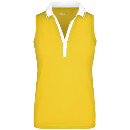 Dámské triko s límečkem bez rukávů JAMES NICHOLSON JN159 SUN YELLOW/WHITE