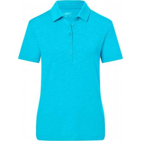 Dámské triko s límečkem žíhané JAMES NICHOLSON JN751 TURQUOISE