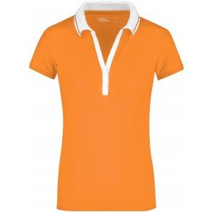 Dámské triko s límečkem JAMES NICHOLSON JN158 ORANGE/WHITE