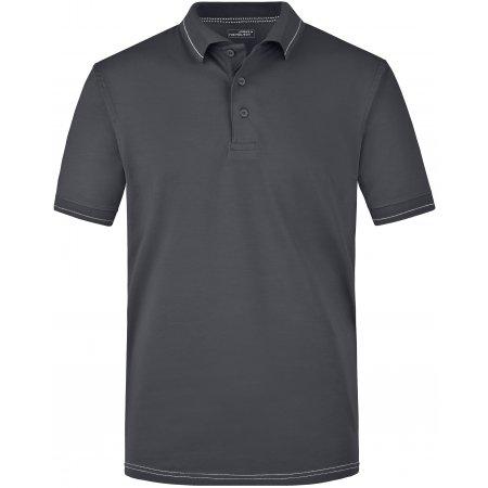 Pánské triko s límečkem premium JAMES NICHOLSON JN569 GRAPHITE/WHITE