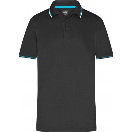 Pánské triko s límečkem fashion JAMES NICHOLSON JN966 BLACK/WHITE/TURQUOISE