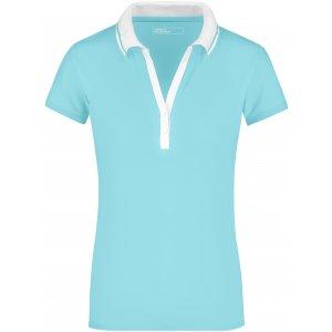 Dámské triko s límečkem JAMES NICHOLSON JN158 LAGOON/WHITE