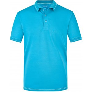 Pánské triko s límečkem premium JAMES NICHOLSON JN569 AQUA/WHITE