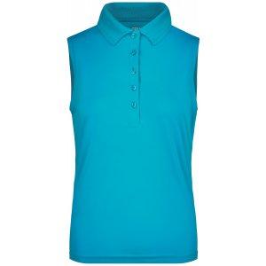 Dámské triko s límečkem bez rukávů funkční premium JAMES NICHOLSON JN575 TURQUOISE