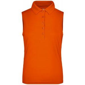 Dámské triko s límečkem bez rukávů funkční premium funkční JAMES NICHOLSON JN575 DARK ORANGE