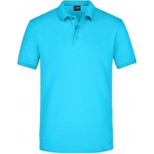 Pánské triko s límečkem elastic JAMES NICHOLSON JN710 TURQUOISE