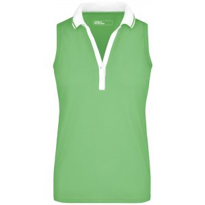Dámské triko s límečkem bez rukávů JAMES NICHOLSON JN159 LIME GREEN/WHITE