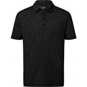 Pánské triko s límečkem žíhané JAMES NICHOLSON JN752 BLACK