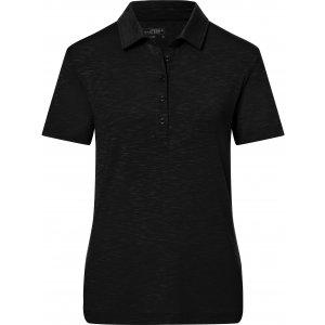Dámské triko s límečkem žíhané JAMES NICHOLSON JN751 BLACK
