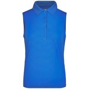 Dámské triko s límečkem bez rukávů funkční premium JAMES NICHOLSON JN575 COBALT