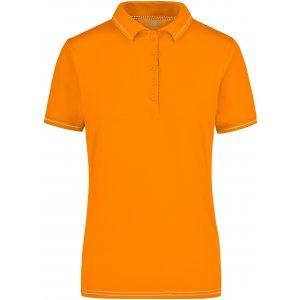 Dámské triko s límečkem premium JAMES NICHOLSON JN568 ORANGE/WHITE