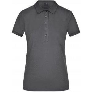 Dámské triko s límečkem elastic JAMES NICHOLSON JN709 GRAPHITE