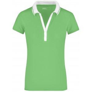 Dámské triko s límečkem JAMES NICHOLSON JN158 LIME GREEN/WHITE