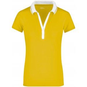 Dámské triko s límečkem JAMES NICHOLSON JN158 SUN YELLOW/WHITE