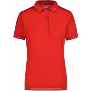 Dámské triko s límečkem premium JAMES NICHOLSON JN568 RED/WHITE