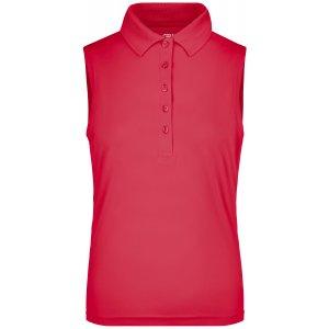 Dámské triko s límečkem bez rukávů funkční premium JAMES NICHOLSON JN575 PINK