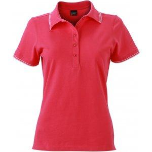 Dámské triko s límečkem JAMES NICHOLSON JN985 PINK/WHITE