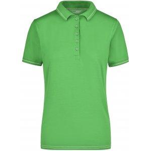 Dámské triko s límečkem premium JAMES NICHOLSON JN568 LIME GREEN/WHITE