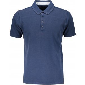 Pánské triko s límečkem fashion JAMES NICHOLSON JN712 NAVY/WHITE LIGHT BLUE