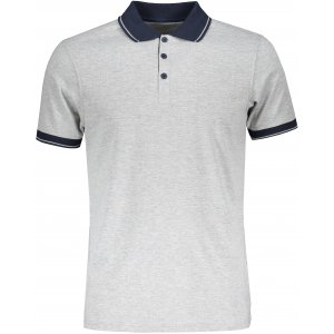 Pánské triko s límečkem melange JAMES NICHOLSON JN706 GREY HEATHER/NAVY