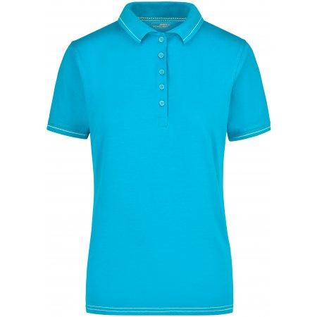 Dámské triko s límečkem premium JAMES NICHOLSON JN568 AQUA/WHITE