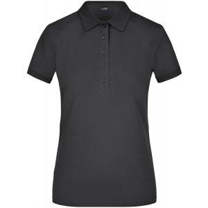 Dámské triko s límečkem elastic JAMES NICHOLSON JN709 BLACK