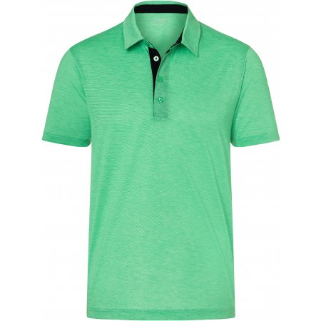 Pánské triko funkční s límečkem JAMES NICHOLSON JN754 FERN GREEN/WHITE