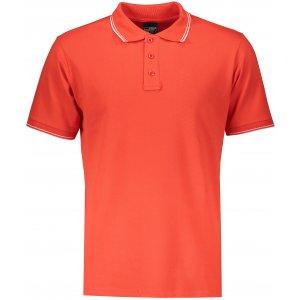 Pánské triko s límečkem JAMES NICHOLSON JN986 TOMATO/WHITE