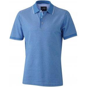 Pánské triko s límečkem trendy JAMES NICHOLSON JN704 LIGHT BLUE/WHITE