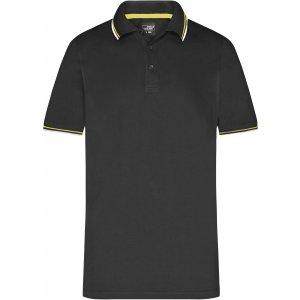 Pánské triko s límečkem fashion JAMES NICHOLSON JN966 BLACK/WHITE/YELLOW