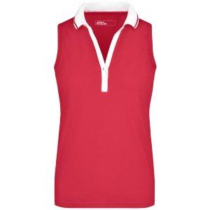 Dámské triko s límečkem bez rukávů JAMES NICHOLSON JN159 PINK/WHITE