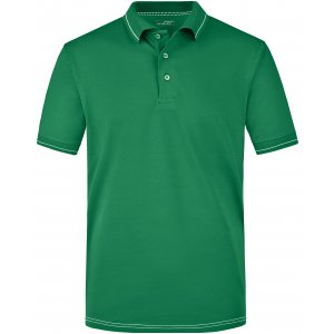 Pánské triko s límečkem premium JAMES NICHOLSON JN569 IRISH GREEN/WHITE