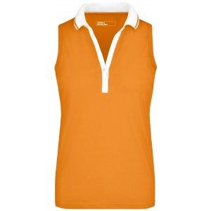 Dámské triko s límečkem bez rukávů JAMES NICHOLSON JN159 ORANGE/WHITE