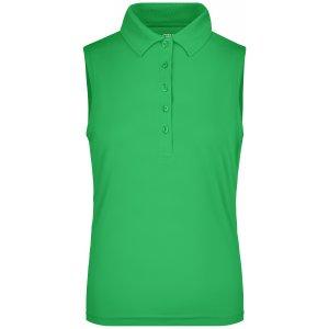 Dámské triko s límečkem bez rukávů funkční premium JAMES NICHOLSON JN575 GREEN