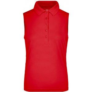 Dámské triko s límečkem bez rukávů funkční premium JAMES NICHOLSON JN575 RED