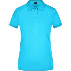Dámské triko s límečkem elastic JAMES NICHOLSON JN709 TURQUOISE