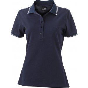 Dámské triko s límečkem JAMES NICHOLSON JN985 NAVY/WHITE