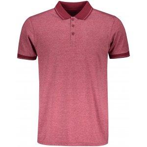 Pánské triko s límečkem melange JAMES NICHOLSON JN706 WINE MELANGE/WINE