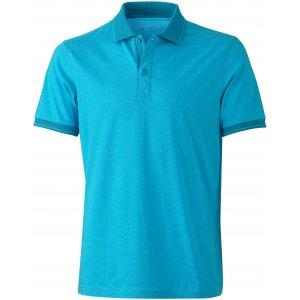 Pánské triko s límečkem melange JAMES NICHOLSON JN706 TURQUOISE MELANGE/TURQUOISE