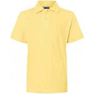 Dětské triko s límečkem premium JAMES NICHOLSON JN070K LIGHT YELLOW