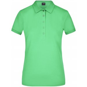 Dámské triko s límečkem elastic JAMES NICHOLSON JN709 LIME GREEN