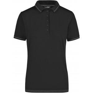 Dámské triko s límečkem premium JAMES NICHOLSON JN568 BLACK/WHITE