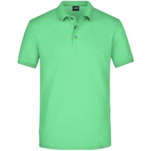 Pánské triko s límečkem elastic JAMES NICHOLSON JN710 LIME GREEN