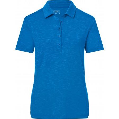 Dámské triko s límečkem žíhané JAMES NICHOLSON JN751 BRIGHT BLUE