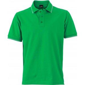 Pánské triko s límečkem JAMES NICHOLSON JN986 FERN GREEN/WHITE