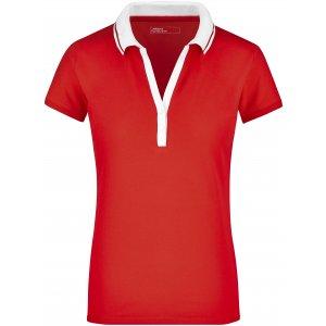 Dámské triko s límečkem JAMES NICHOLSON JN158 TOMATO/WHITE