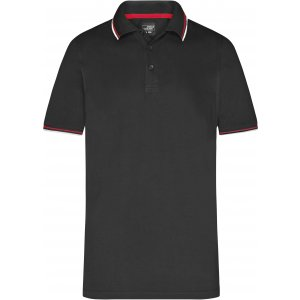 Pánské triko s límečkem fashion JAMES NICHOLSON JN966 BLACK/WHITE/RED