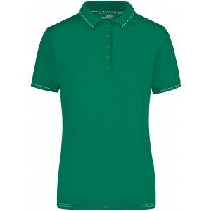 Dámské triko s límečkem premium JAMES NICHOLSON JN568 IRISH GREEN/WHITE